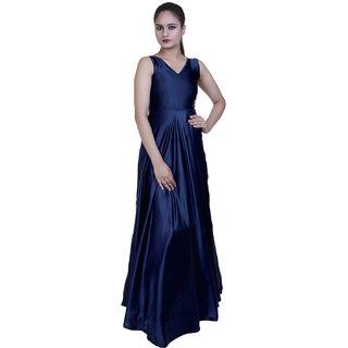Urs Fashion Blue Color V-Neck Satin Dress for women