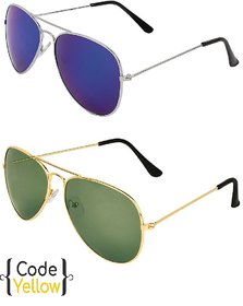 Code Yellow Multicolour Uv Protected Unisex Sunglasses Pack Of 2