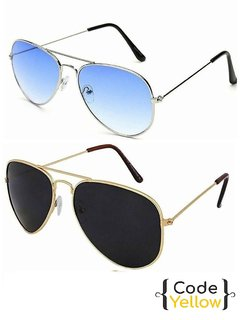Code Yellow Multicolor UV Protected Unisex Sunglasses Pack of 2