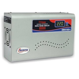 Microtek EM4160+ Digital Display For AC upto 1.5Ton  160V 285V  Voltage Stabilizer   Grey