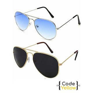 515a3d513b Buy Code Yellow Multicolor UV Protected Unisex Sunglasses Pack of 2 Online  - Get 85% Off