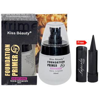 Kiss Beauty Foundation Primer 24h Brightening Bare Minerals With Free Laperla Kajal-HAURT