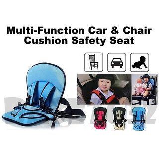 Baby's Adjustable Car Cushion Seat with Safety Belt Multi-Function (Colour May Vary)