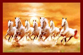 Galaxy Vaastu White Seven Horse Running Vinyl Wall Posters