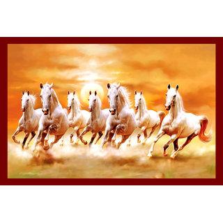 Galaxy Vaastu White Seven Horse Running Vinyl Wall Posters (45cm x 1cm x 30cm)