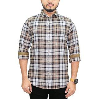 SBCLFS949 - Southbay Men's Brown,Beige,Indigo,Checkered 100 Cotton Full Sleeve Casual Shirt