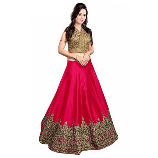 Florence Women's Pink Bangalore Silk Lehenga Choli