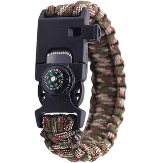 Futaba Survival Bracelet Flint Fire Starter Gear With Compass - Mixed Green
