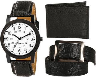Jack klein Elegant White Dial Black Strap Analog Watch With Black Belt And Wallet