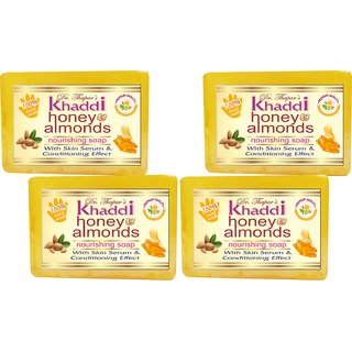 Khadi Honey Almond Nourishing Glycerin Soap (Premium Brand) By Dr. Thapar  Buy 3 Get 4 (125 Grams Each )