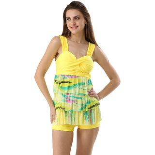 Exceptional And Arresting Swim Sexy Multi Color Ruffled  Two Piece Boyleg Tankini-Beach Wear