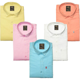 Freaky Pack Of 5 Mens Plain Casual Slimfit linen Shirts