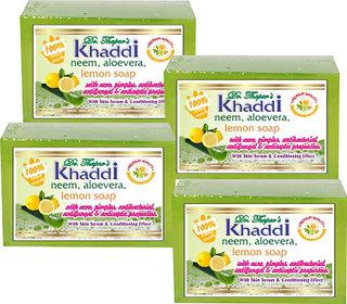 Khadi Neem, Alovera  Lemon Glycerin Soap (Premium Brand) By Dr. Thapar  Buy 3 Get 4 (125 Grams Each )