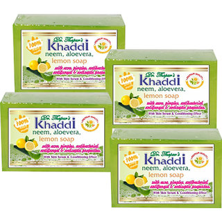 Khadi Neem, Alovera  Lemon Glycerin Soap (Premium Brand) By Dr. Thapar  Buy 3 Get 4 (125 Grams Each )