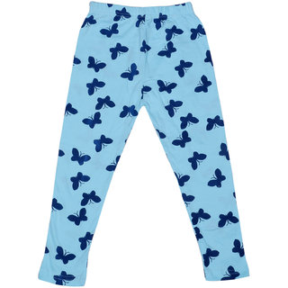 IndiWeaves Girls Super Soft and Stylish Blue Cotton Printed Legging