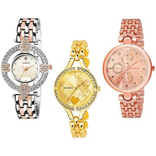 65e2b12ac4 Buy Kajaru L-1065-Girls Multy Tone Color Attractive  (Casual+PartyWear+Formal) Designer Pack Of 3 Watch For Girls And Woman  Online - Get 50% Off