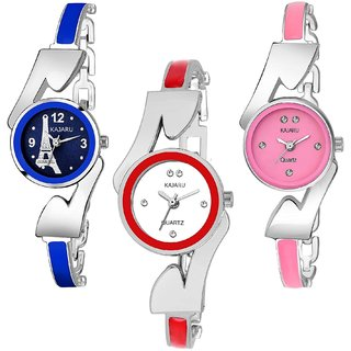 2ee986208a Kajaru L-1072-Girls Multi Strap (Casual+PartyWear+Formal) Designer Pack Of  3 Watch For Girls And Woman