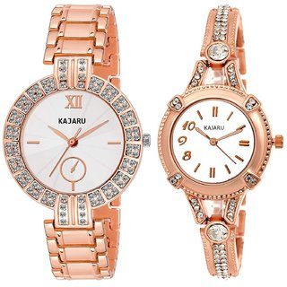 c683e297e Kajaru L-2129-Girls Rose Gold (Casual+PartyWear+Formal) Designer 2 Combo  Watch For Girls And Woman