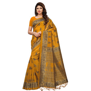Swaron Yellow Poly Silk Printed Saree with Unstitched Blouse