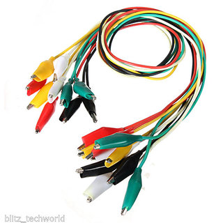 E64 10pcs Alligator Clips Electrical DIY Test Leads Alligator Double-ended Crocodile Clips Roach Clip Test Jumper Wire