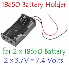 E111B Battery Holder Storage Case Slot for 2 x 18650 7.4v with both wire leads