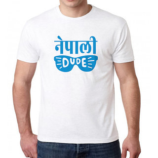 HEYUZE 100% Cotton Half Sleeve Male Men Round Neck White T Shirt with Nepali Dude Design