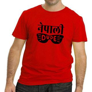 HEYUZE 100% Cotton Half Sleeve Male Men Round Neck Red T Shirt with Nepali Dude Design