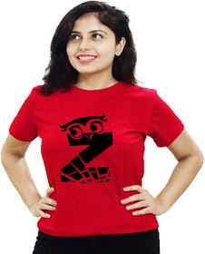 HEYUZE 100% Cotton Half Sleeve Girl Women Round Neck Red T Shirt with Initial Letter Alphabet Z Owl Design