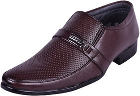 Somugi Men's Brown Formal Slip On Shoes