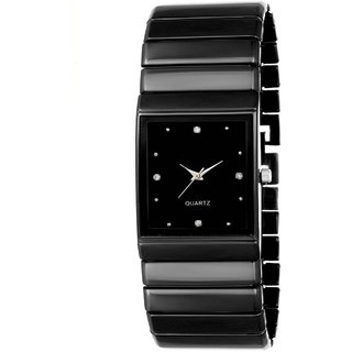 True Colors Black Rectangle Dial Metal Strap Analog Watch For Men