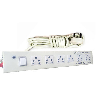 X-EON Extension Board with Metal Stainless Steel Solid Body-3Pin Plug - 6Amps- 240 Volts 6 Socket (White)