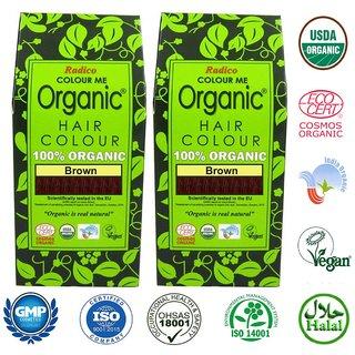 Radico-100 Organic Brown Hair Colour - (Twin Pack)