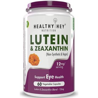 HealthyHey Lutein 10 mg with Zeaxanthin - Support Eyes Health - 60 Veg. Capsules (Pack of 1)
