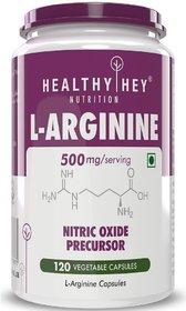 HealthyHey L-Arginine 500mg, 120 Vegetable Capsules (Pack of 1)