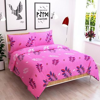 The Intellect Bazaar 100% Pure Cotton Double Bedsheet with 2 Pillow Cover (Pink)