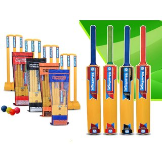 Wintex branded Premium Plastic Cricket Set Multi Color (3 Wickets 2 Bails 1 Wicket Stand 1 Bat 1 Ball and Full Cover