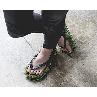81ae9625b96535 Ldhsati Unisex Flip Flops Green Grass Slipper Black Colour Slippers  Diabetic Orthocare Special