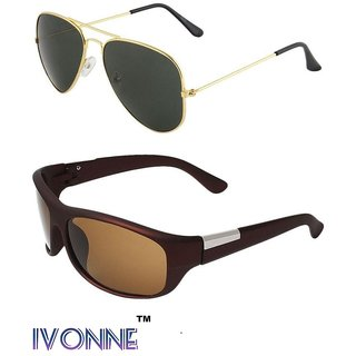0c11563262 Buy Ivonne Multicolor UV Protected Unisex Sunglasses Pack Of 2 Online - Get  87% Off