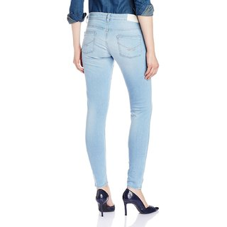 Sky Blue Slim Fit Jeans For Girls Women