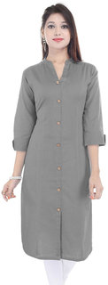 Purvahi Grey color Plain Cotton Stitched Kurtis