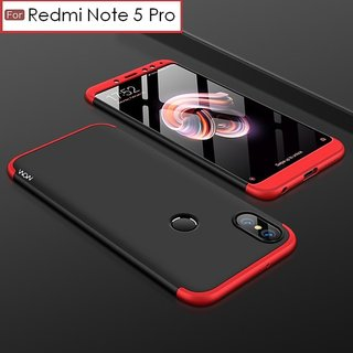 BRAND FUSON RedMi Note 5 Pro Front Back Case Cover Original Full Body 3-In-1 Slim Fit Complete 3D 360 Degree Protection Hybrid Hard Bumper (Black Red) (LAUNCH OFFER)