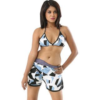 Retro print blue multi colour edmarvellous 2 piece bikini