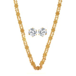 Gold Plated Gold Color Designer Daily wear Chain And Earring Combo for Women by GoldNera