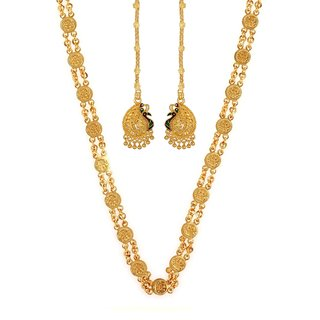 GoldNera Ethnic Real Gold Look Alike 30 Inches Ginni Chain Design combo with Kaan Chain Earrings