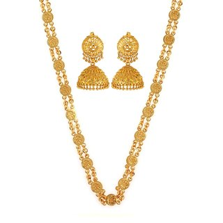 Goldnera Ethnic Real Gold Look Gold Plated Alike 30 Inches Ginni Chain Bridal/WeddingNecklace Design Combo With Earrings