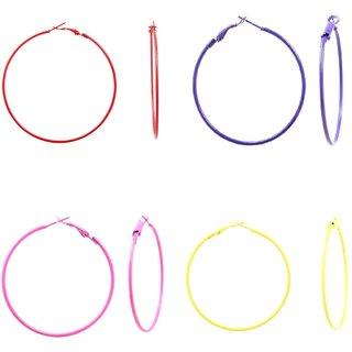 GoldNera Sadhana Rakhi Colorful Hoop Special Colorful Trendy Combo For Girls Alloy Hoop Earring