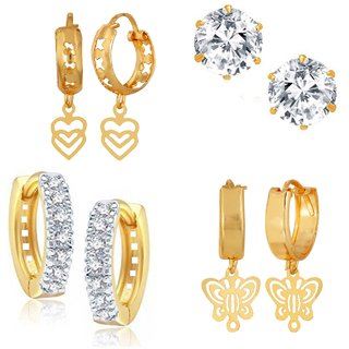 Goldnera Ad Wedding Gift Earring Combo Of 4 Pairs Of Earrings For Women/Girls