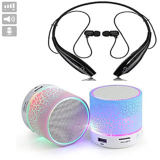 Deals e Unique Wireless Bluetooth Headphone HBS-730 Neckband with Mini Bluetooth Speaker(Combo of Two Pack) Multi-Color