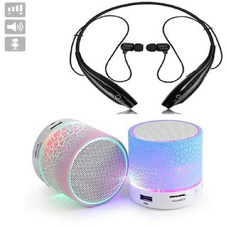 Deals e Unique In The Ear Foldable/Collapsible Wireless Neckband With Audio Controls & Mic With Mini Bluetooth Speaker