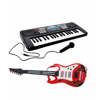 OH BABY, BABY 37 Keys Melody Piano With GUITAR Dual Speakers, Recording , Mic And Power Saving Mode Toy SE-ET-557